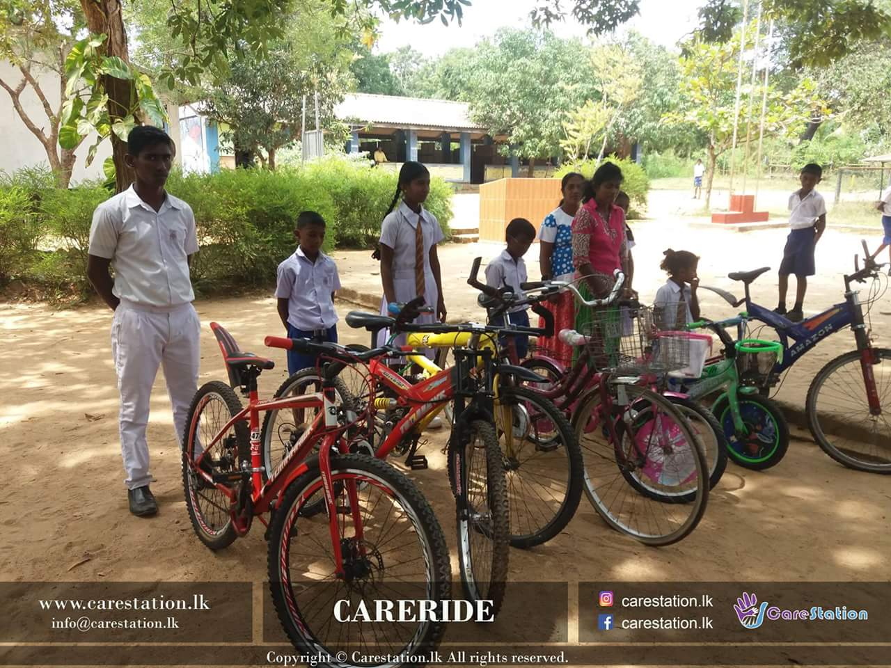 happy moment after receiving their bikes